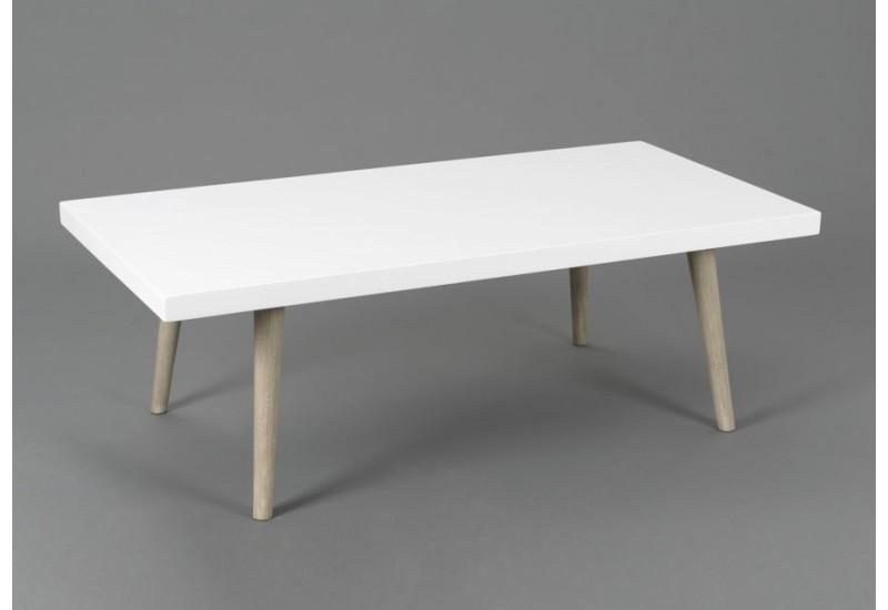 Table basse bois plateau blanc
