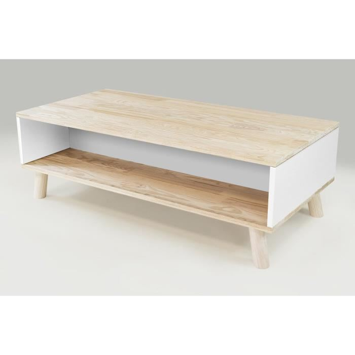 Table basse blanche scandinave rectangulaire