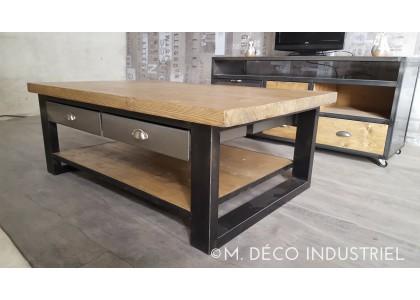 Table basse bois avec tiroir