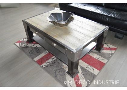 Table basse acier bois artisanale