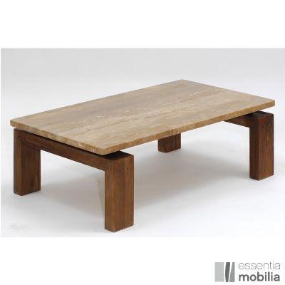 Table basse bois et marbre