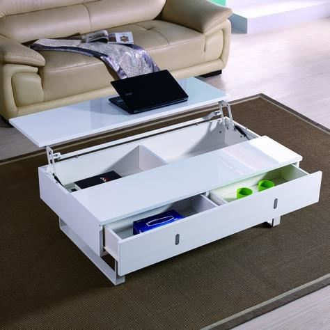 Table basse transformable, plateau relevable