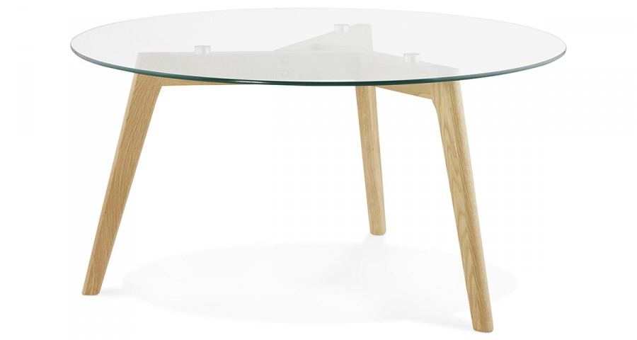Table basse verre et bois scandinave