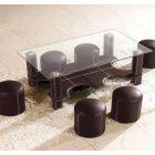 Table basse en verre avec pouf conforama