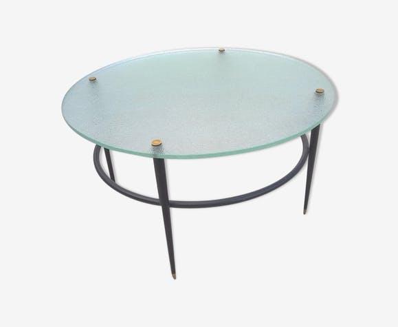 Table basse vintage metal verre