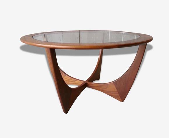 Table basse vintage plateau en verre