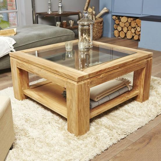 Table basse bois vitrée