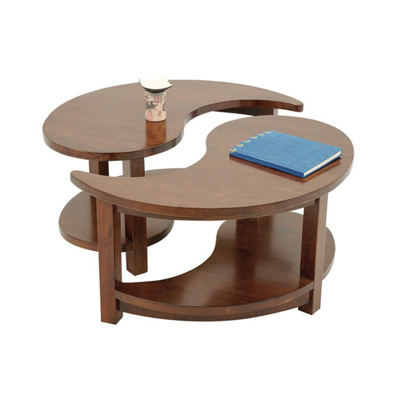 Table basse ronde bois exotique
