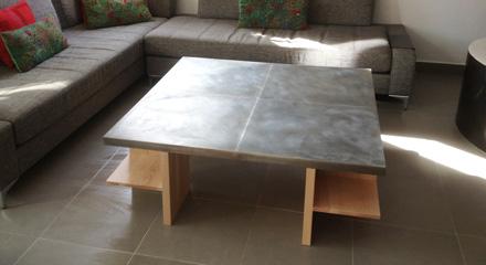 Table basse bois et zinc