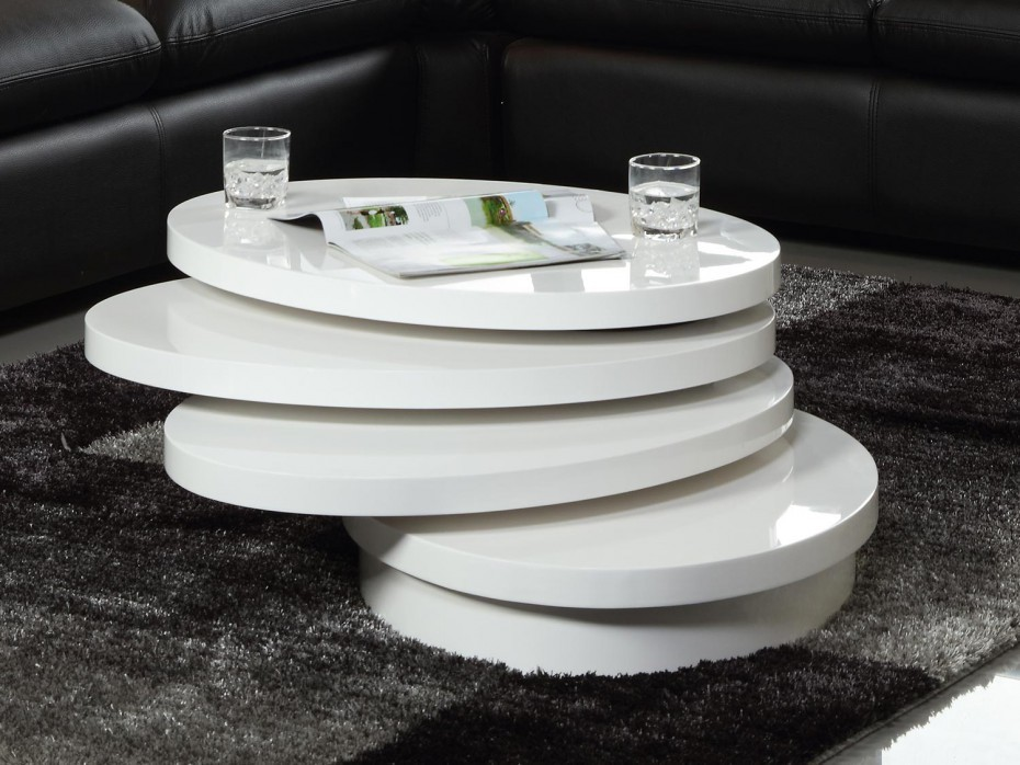 Table basse relevable pivotante