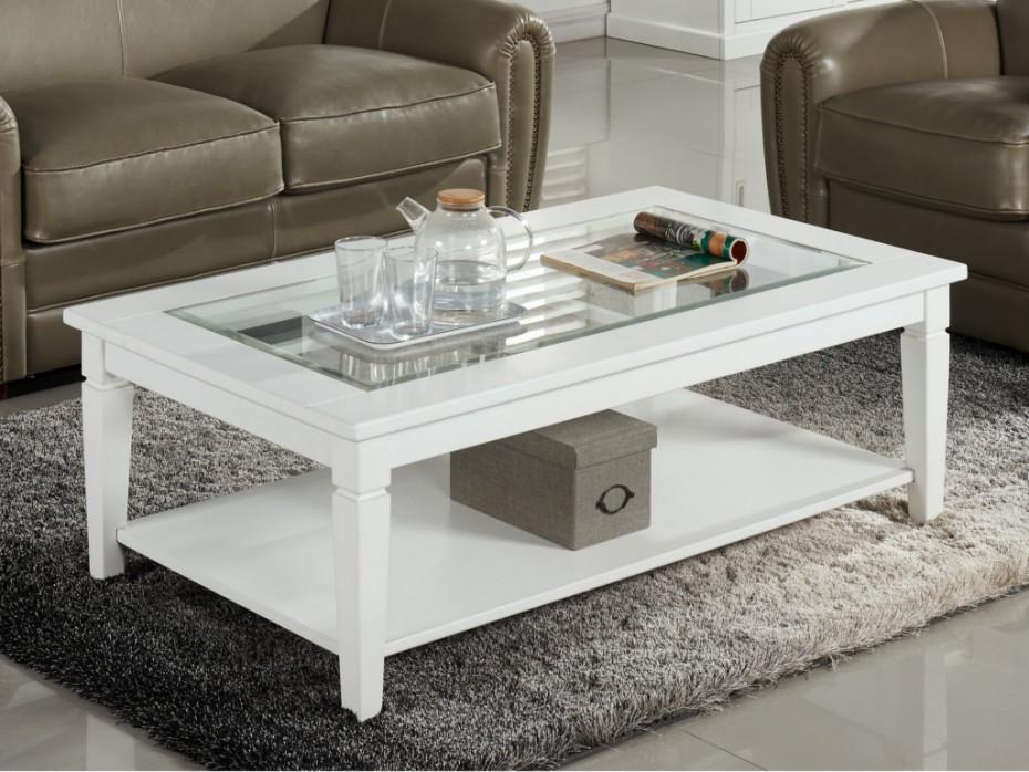 Table basse verre et bois blanc