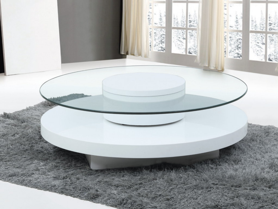 Table basse ronde à plateaux pivotants
