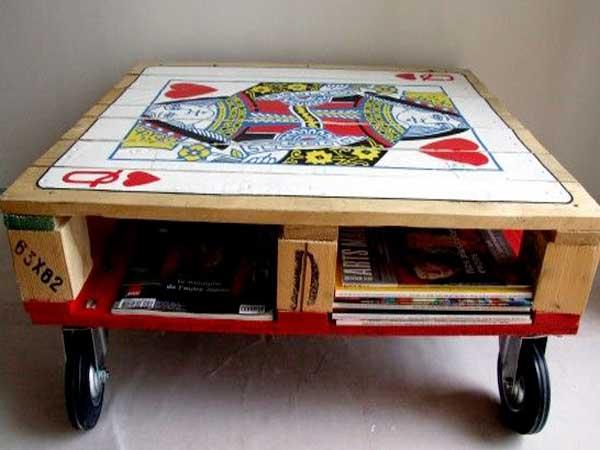 Table basse palette avec ouverture
