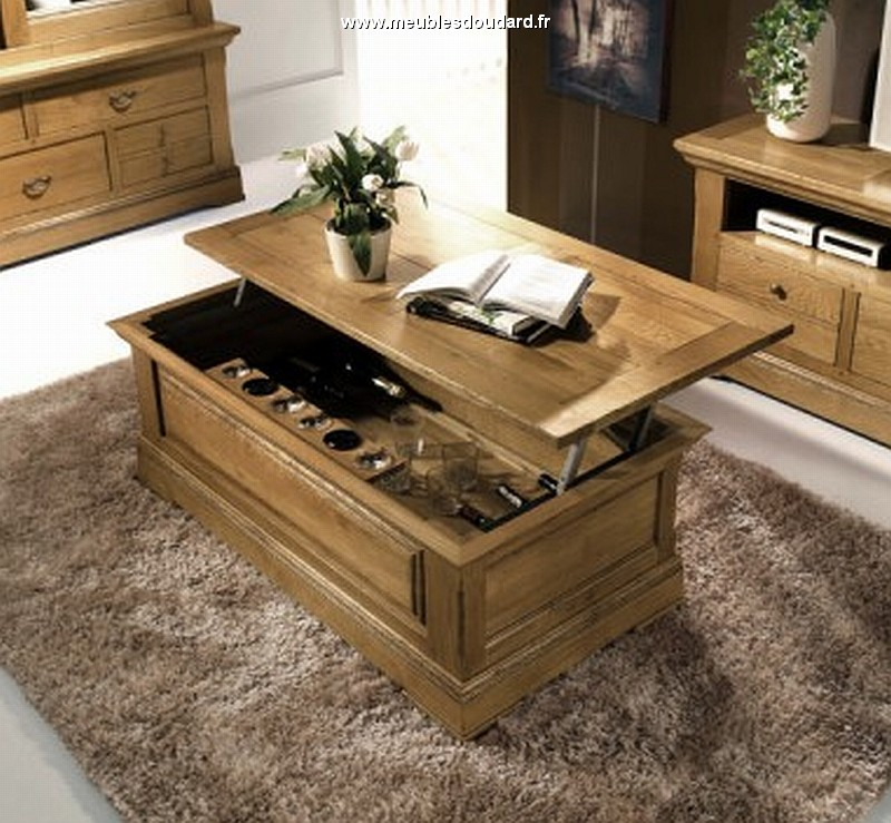 Table basse avec tablette relevable bois
