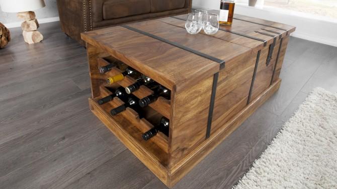 Coffre table basse bois