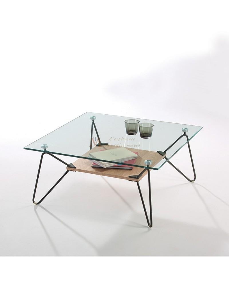 Table basse bois verre métal