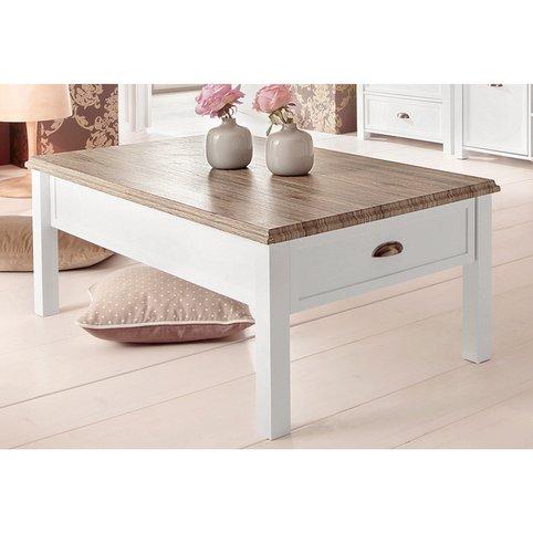 Table basse bois et blanc rectangulaire