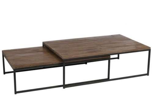 Table basse gigogne bois et metal
