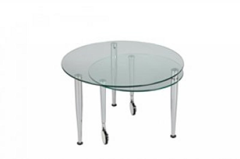 Table basse ronde a roulette