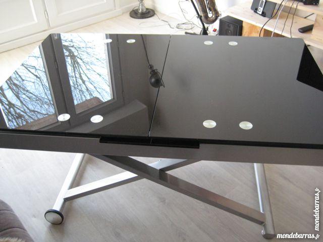 Table basse relevable verre noire