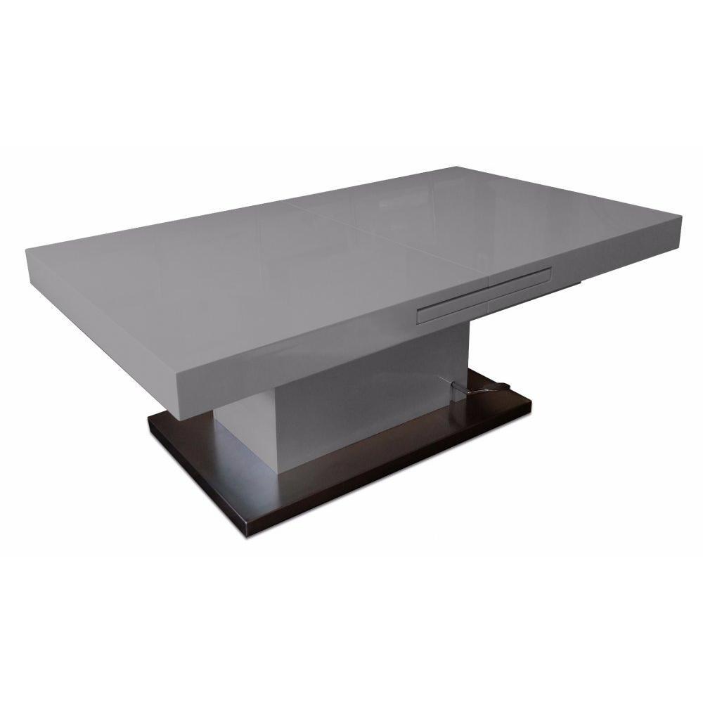Table basse relevable extensible lift wood gris béton