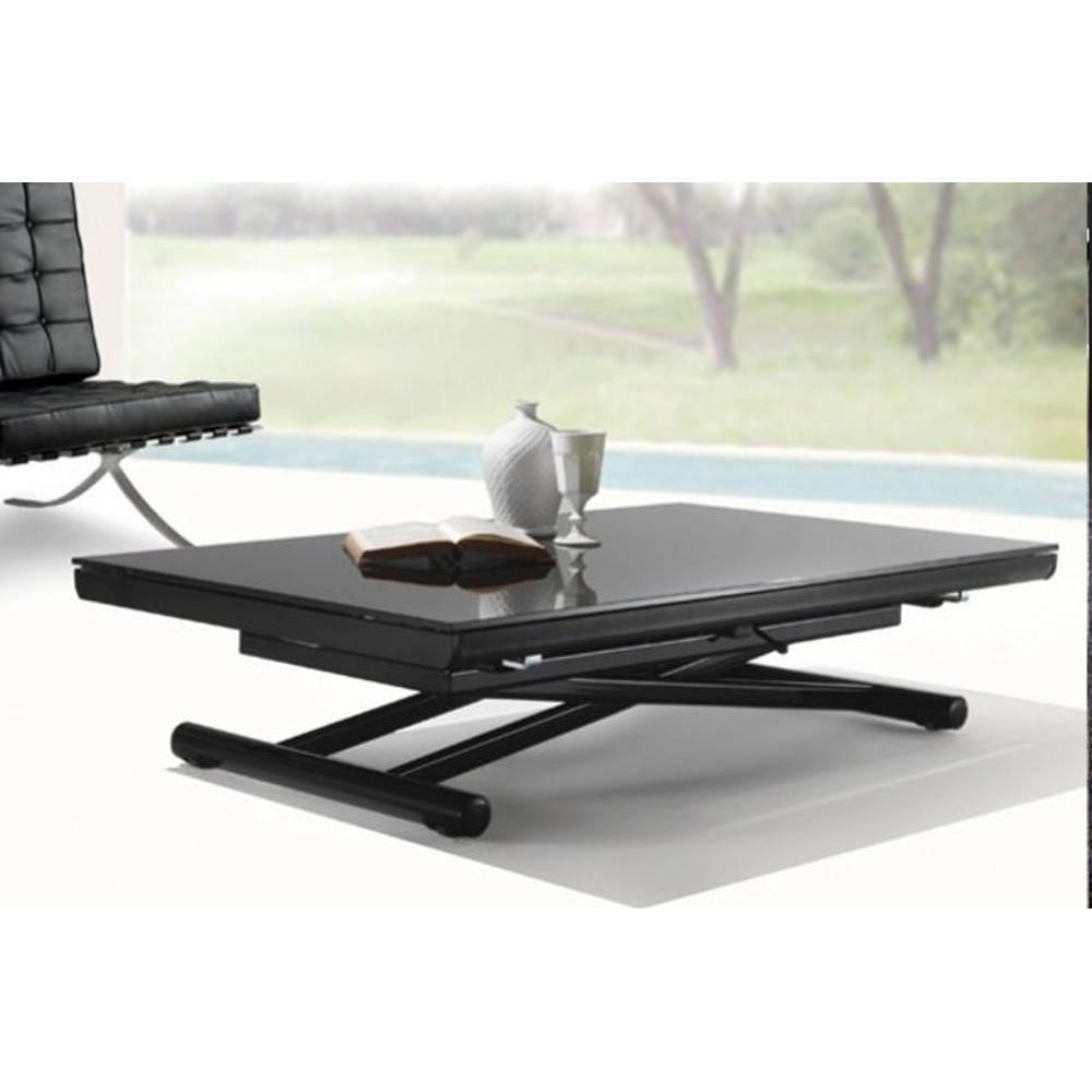 Table basse relevable et extensible noire