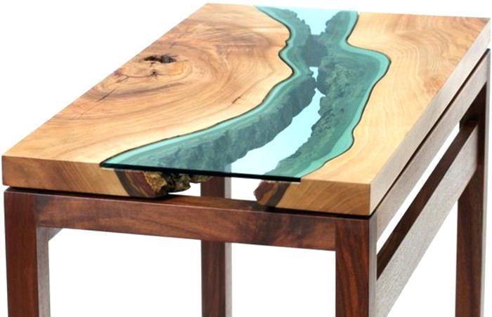 Table basse fer forge bois et verre