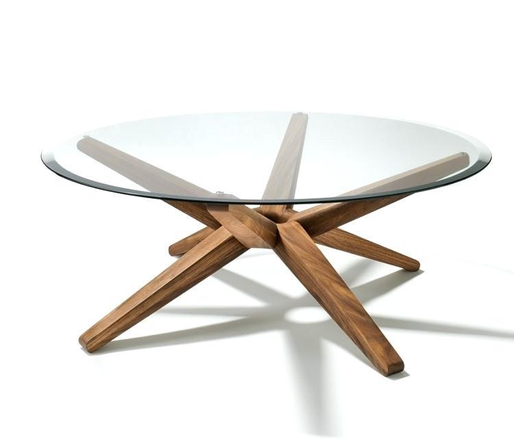 Table basse verre pieds bois
