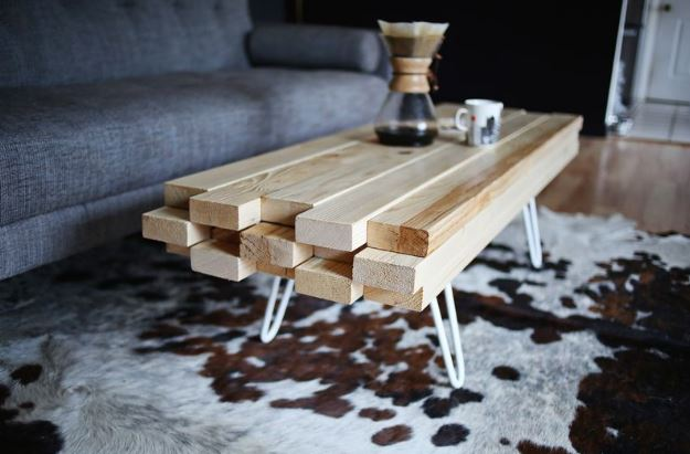 Fabriquer table basse bois metal