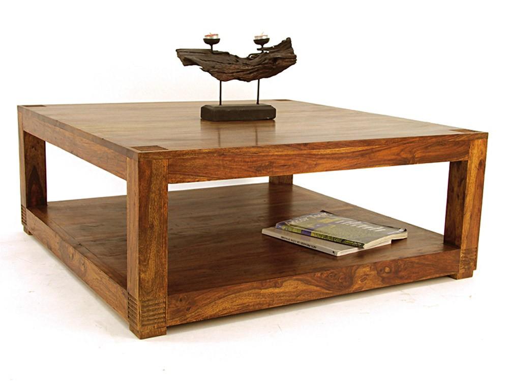 Table basse carree design bois
