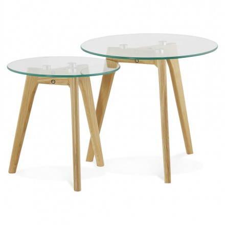 Table basse gigogne design verre