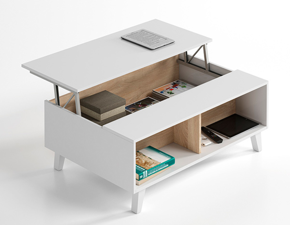 Table basse relevable blanc et chene