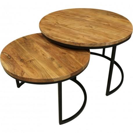 Table basse ronde bois acier