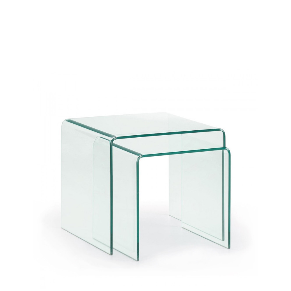 Table basse gigogne verre transparent