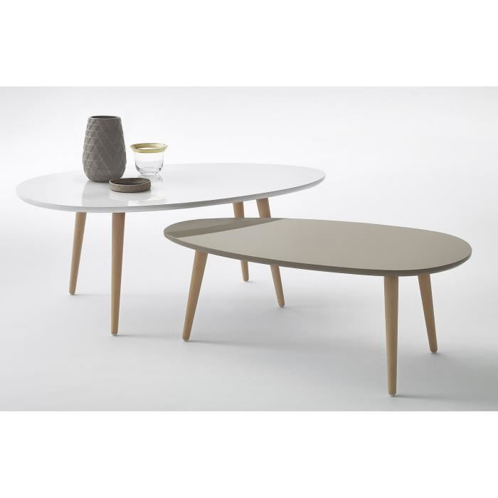 Table basse scandinave jaune et blanche