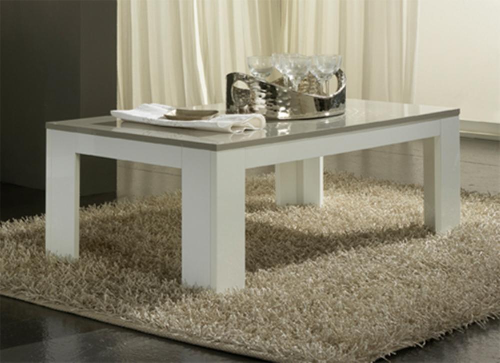 Table basse blanche et grise en bois