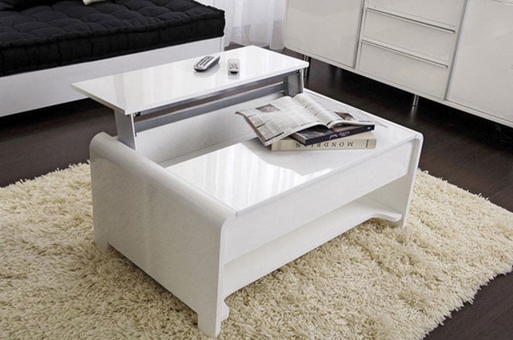 Table basse relevable blanche laquée