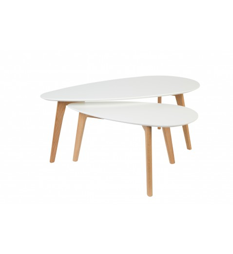 Table basse scandinave blanc laqué