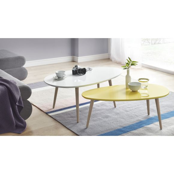 Table basse scandinave blanc et jaune