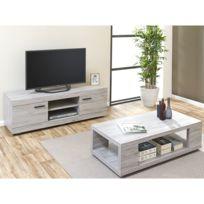 Ensemble table basse meuble tv bois massif