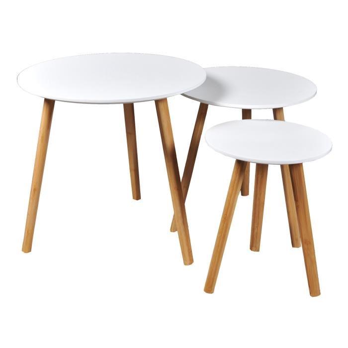 Table basse gigogne blanche et bois