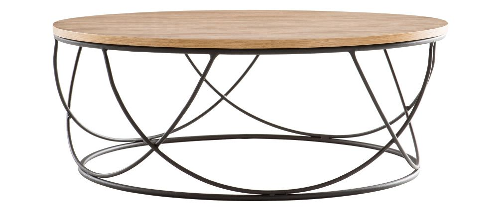 Table basse bois metal rond