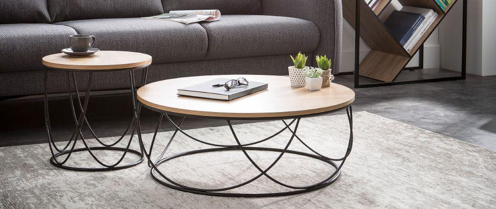 Table basse ronde bois et metal noir
