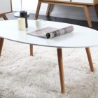 Table basse en bois blanche et beige
