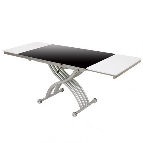 Table basse relevable zen finition laqué noir